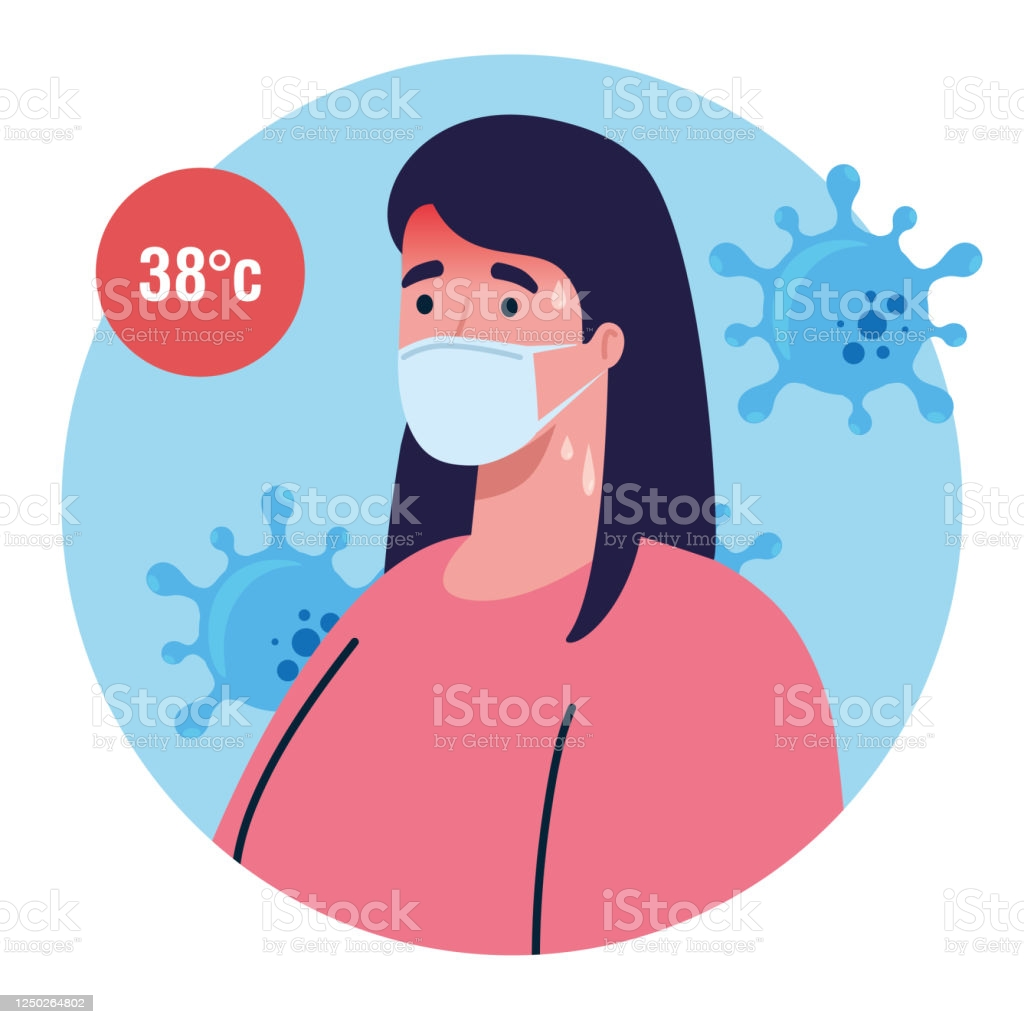 covid 19 coronavirus, hand holding infrared thermometer to measure body temperature, woman check with high temperature vector illustration design