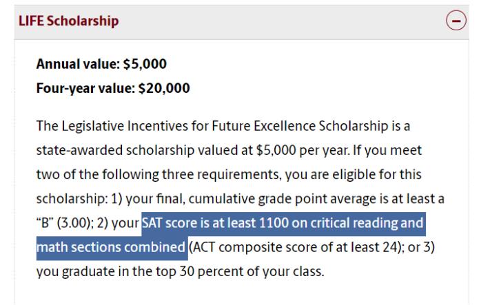 Details of The Life Scholarship at University of South Carolina